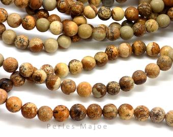 Lot de 10 perles rondes en jaspe naturel 6 mm