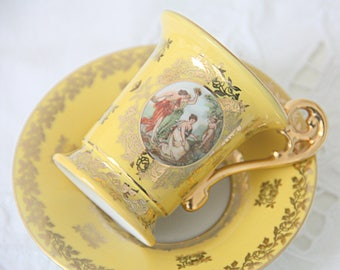 Vintage Demitasse Cup and Saucer, Francois Boucher Decor, Bremer & Schmidt, Germany