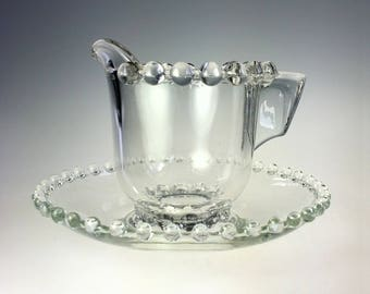 Beaded Glass Creamer with Saucer Vintage