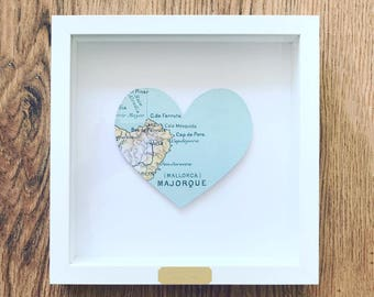 Framed Personalised Heart Map Gift: 1st Wedding Anniversary/ Engagement/ House Warming/ Wedding Gift