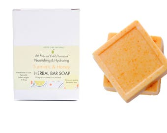 Pack of 2 Fragrance Free Unscented Natural Bar Soap, Stocking Stuffers,Gifts, Organic Goat Milk Soap, Olive Soap, Turmeric Honey Soap,
