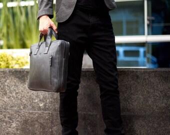 Black Laptop Leather Briefcase, Leather Bag, Messenger Bag, Satchel, Portfolio, Personalized gifts for men. Monogrammed // ROKO BLACK