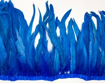 "Dark Turquoise 10"" - 12"" strung coque rooster tail  feathers"