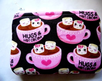 New!  pouch with hot chocolate mugs made from fabric