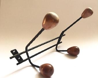 Coat Rack. Wall Coat Rack. French Coat Hanger. Wall Hooks. Vintage Coat Hook. Hat Rack. Wood Balls. Industrial Decor. Porte manteau. Patère