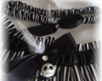 Jack Skellington Nightmare Before Christmas Wedding Bridal Garter, Jack Wedding Garter, Black and White Bridal Garter