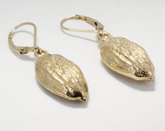 Almond Jewelry, Almond Earrings, Actual Size 14kt Gold Almond Dangle Earrings,California Almond Grower gift for her, Almond Board Gift