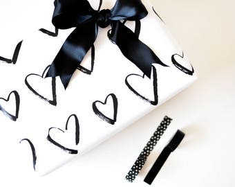 Hearts / Calligraphy Gift Wrap /