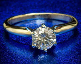 Diamond Ring 0.62 Ct Natural Round Diamond Engagement Promise Wedding Ring 14k Yellow Gold