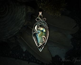 labradorite pendant wire wrapped pendant labradorite necklace designer jewelry wirewrap gift for women wire wrapped necklace for girlfriend