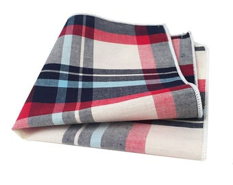 Red, Navy Blue, Light Blue and White Plaid Pocket Square
