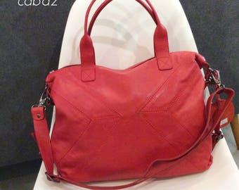 handbag, satchel, leather red bag