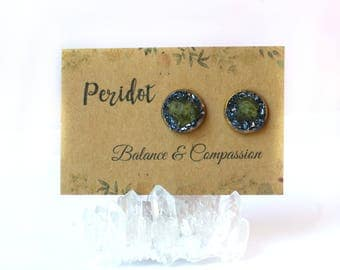Peridot Jewelry, Peridot Earrings, Peridot Stud Earrings, August Birthstone Jewelry, August Birthstone Earrings, August Birthstone