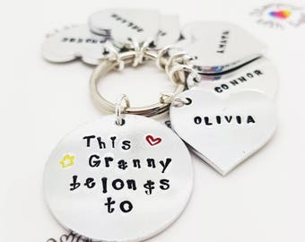 Grandma, Granny, Nana Keyring, Birthday Present, Grandparent, This Nana belongs to, personalised, handmade, Christmas Gift, New Grandma