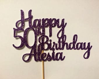 Custom glitter cake topper with your choice of name, phrase, date, funny quote, saying personalized centerpiece