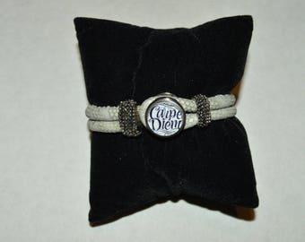 leather beige carpe diem chunk bracelet