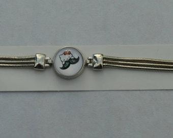 steel mustache snap chunk bracelet