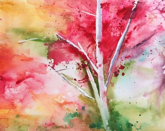 """Original Watercolor Painting 9"""" X 12"""" with frame Colorful Abstract Tree"""