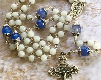 Frost White and Blue Agate Catholic Rosary