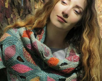 "Knit wool shawl - varicoloured handmade shawl - green knit shawl - hand knit shawl - big knitted kerchief - triangular knit shawl ""Bohemia"""