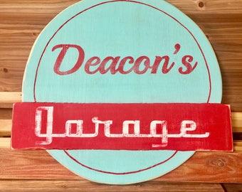 Personalized Vintage Antique Garage Sign