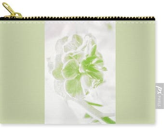 Green Floral Handbag,Flower Carry All Pouch,Small,Medium,Large,White,Coin Purse,Shabby Chic,Fashion,Makeup Bag,Cosmetic,Boho,Zipper Pouch