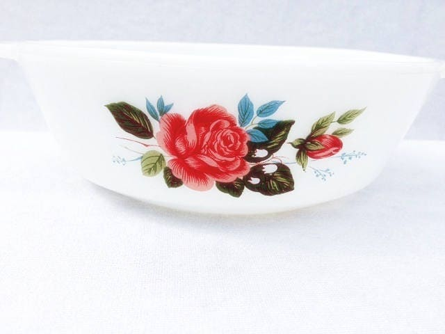 Arcopal France Dinnerware Dishes Rose Oven Dish 7.25x2.25 Inches Milk Glass Dish & Arcopal France Dinnerware Dishes Rose Oven Dish 7.25x2.25 Inches ...