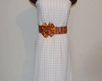 Bronze Satin Rose Belt, Wedding Belt, Bridesmaids' Belt, Wedding Accessory, Satin Formal Belt, Satin Elastic Belt