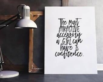 Confidence Quote | Fashion Quote Poster, Closet Quote, Closet Wall Art, Woman Fashion Quote, Feminine Quote, Feminine Fashion