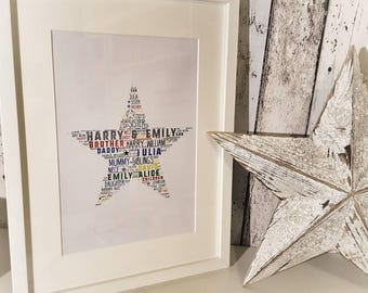 A3 unframed word art print, personalised