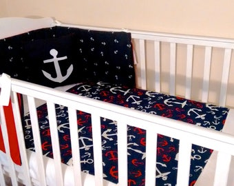 Reversible Nautical baby bedding set