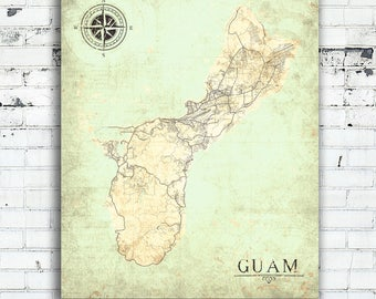 Guam Island Canvas Print Micronesia Us Territory Vintage Map Wall Art Poster Map Vintage Retro Old