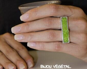 """Bague """"Jardinière"""" argent 925 rhodié ajustable avec lichen vert"""