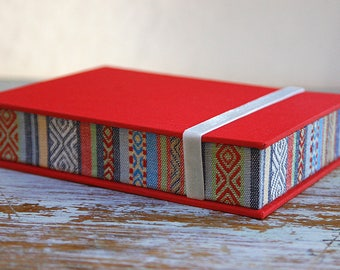 Ethnic Box for Photos 4x6 in - Handmade of book cloth and Tribal/Ethnic fabric| Photo Storage | Presentation Box | Keepsake | Photo Album