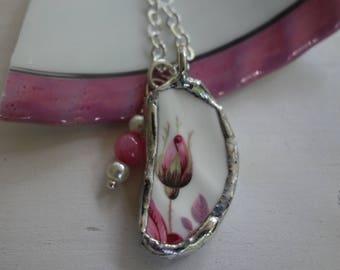 Pink rose necklace- broken china jewelry -broken china pendant necklace- vintage china necklace- pink flower necklace
