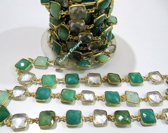 1FOOT- Best Quality Chrysoprase Green Onyx and Rock Crystal Connector Chain, Square Cushion Shape Briolette Bezel Connector Chain 10mm Stone