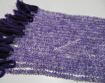 AA Quality Amethyst Rondelle Faceted Beads , Purple Amethyst Beads 3 to 4 mm , Strand of 14 Inches Long , Semi Precious stone Beads.