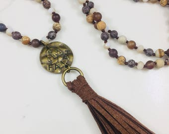 Multi stone beaded tassel necklace with faith pendant and brown tassel • Fast and free shipping