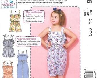 Girls/Childrens Blouson Rompers, Jumpsuit, Sizes 6 Thru 8, New Uncut McCalls Pattern 7376