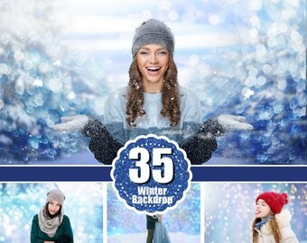 35 winter backdrop background texture bokeh, snow overlay, lights, Photoshop, christmas, holliday, wedding, photo session, jpg