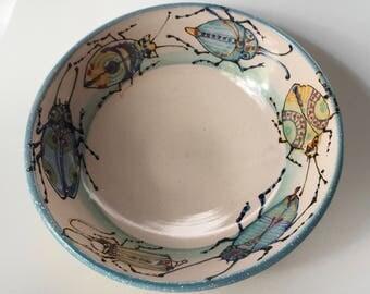 Ceramic Beetle Bowl by Nancy Hallmark Pottery