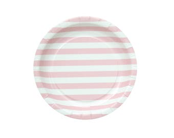 Pack of 10 Pink Stripes Paper Plates, Pink Party Plates, Pink Paper Plates, It Is a Girl Baby Shower Paper Plates, Girl Party Paper Plates.