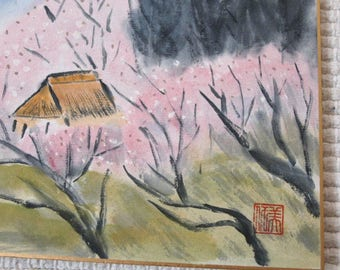 Shikishi art, Japanese painting, Nihonga, sumi e, Japanese spring, cherry blossoms, Sakura, home decor