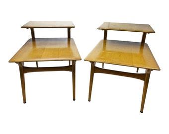 Mid Century Modern HEYWOOD WAKEFIELD Step Table Pair side wood vintage blonde 50s mcm living room bedroom furniture nightstand set M1584G