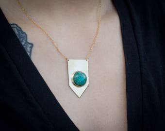 "Brass arrow necklace with chrysocolla stone on gold-filled 16-18"" chain."