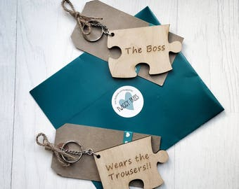 Quirky Wears the Trousers & The Boss 2 piece Jigsaw His Hers Keyring Keychain Set Gift Valentines Partner Husband Boyfriend gift