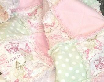 Baby Girl Rag Quilt, Baby Quilt, Toddler Blanket, Baby Blanket, Pink, Green, Butterfly, Paris, Rag Quilt