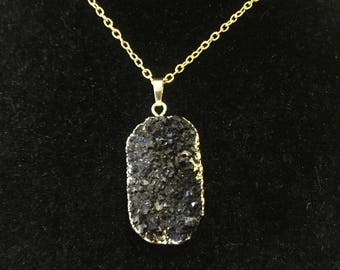 Raw Sliced Black Drusy Agate Gold Necklace