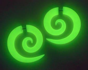 Spiral Plugs, Glow in the Dark Ear Gauges, Fake Plugs, Fake Gauge Earrings, Halloween Ear Plugs, Spiral Gauges, Faux Plugs, Faux Gauges