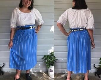 Vintage 1980s Handmade Blue & White Striped  Midi Skirt size M/L